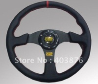 OMP 13 inches leather Racing steering wheel,Sport Steering Wheel for Sports Car Racing Car --Show Your Style!