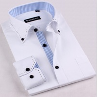 Free shipping 2013 new men's cotton plaid patchwork Business casual long-sleeve shirt,male fashion plus size  Boze shirt