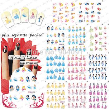 HOT 90Sheet/LOT Beautiful Princess Cartoon Nail Art sticker Design nail accessories/nail water Nail art+ individually packaging