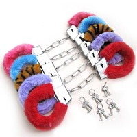 Hot Sale 6  colors toy Sexy Soft Steel Fuzzy Furry Handcuffs Fur Trimmed Sex Toy Hand Cuffs-WholeSale Drop shopping[a02058]