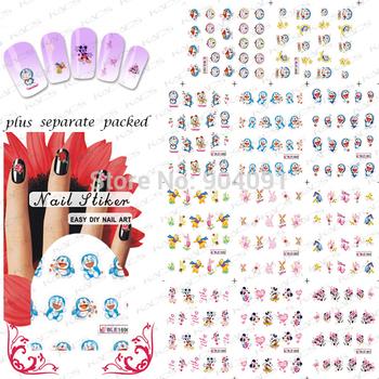 New Arrival! 20Sheet/LOT Doraemon Cartoon Nail Art sticker Design/ water transfer Nail art accessories+individually packaging