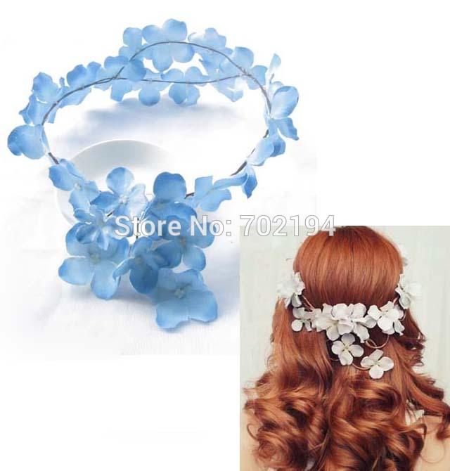 5x Fashion flower crown Silk Hydrangea flowers head wreath Hawaii head ornament headpiece HZW015(China (Mainland))