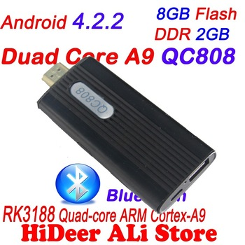 Quad Core RK3188 Cortex-A9 1.8GHz andorid 4.2.2 jelly Bean 2G/8G mini pc Bluetooth WiFi HDMI Quad-Core Google TV stick