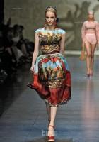 Free Shipping 2014 Newest Runway Vintage Digital Printing Sleeveless Silk Dress Plus Size XXXL