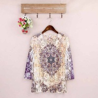2014 new spring letter print long-sleeve T-shirt female t-shirt V-neck Loose big yards