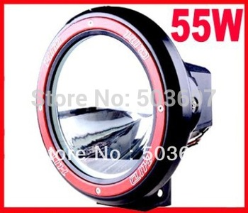 Free Shipping 7'' 55W 12V/9~16V Offroad Light HID Drive Light H3 Slim Ballast Spotlight Free Cover Hid Work Light