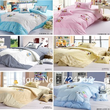 100%cotton children cartoon bedding textile Specials Twin side Quilt cover bed linen cushion covers  Pink/Blue Hello kitty