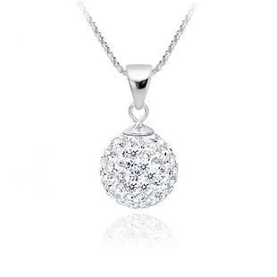 Shamballa Jewelry Pendant Necklaces, White New Shamballa Necklaces Micro Pave CZ Disco Ball Beads, Shamballa Necklaces SHN002
