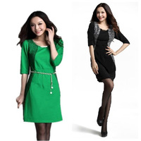 Free Shipping 2013 new arrival fashion autumn elegant slim hip half sleeve silk career novelty dress (with free belt) LY120977
