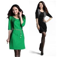 Free Shipping 2013 new arrival fashion autumn elegant slim hip half sleeve silk career novelty dress (with free belt) LY120977