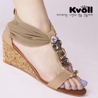 Free Shipping  2013  fashion gauze patchwork gem wedges sandals L61343
