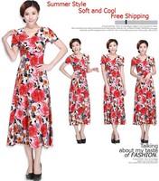 5XL Wonderful quality short-sleeve summer dress plus size one-piece dress long V-neck long design full dress