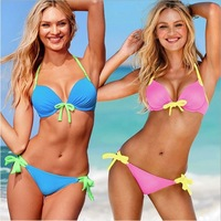 push up knot pink swimwear women bikini sexy beach swim wear swimsuits swimsuit Tankini beachwear bathers Free Shipping W5028