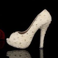 women pumps 2014 New Peep Toe Pearl High Heel  Platform Pumps Ivory Wedding Heels Bridal Shoes pump
