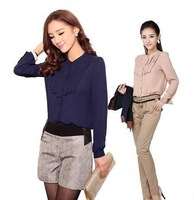 2014 New Fashion Spring Women Blouses/Desgual Stand Collar Chiffon Blouses For Women/Casual Plus Size Women Shirts