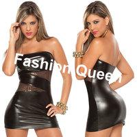 Fashion Women 2014 New Modern Design Sexy & Club Mini Dress Ladies Tube Cut Out Dress Wet Look Party Wear