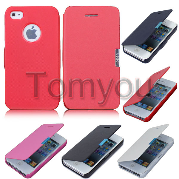 Hot Sale Magnetic Flip Case For iPhone 4 4S Pouch Wallet Style Leather Hard Skin Case Cover For Apple iPhone 4 4S Free Shipping(China (Mainland))