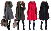 Free shipping!!!2013 spring/autumn plus coat women's cloak wool coat medium-long thickening woolen outerwear snow wearing