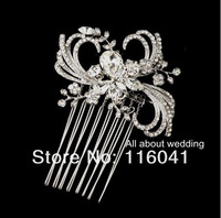 Free Shipping Silver Plated Antique Ribbon Swirl Crystal Metal Wedding Hair Comb Bridal Hair Accessory