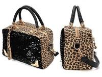 Fashion leopard women's paillette one shoulder handbag paillette color block decoration vintage  handbag