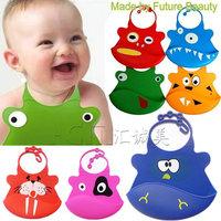 Free shipping kids bib cute cartoon animal 34 desins silicone baby bibs fashion for baby girl and boy