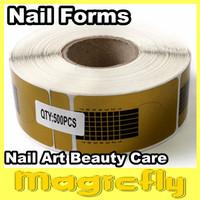 [Retail-018]500 Golden Horseshoe shape Forms Nail Art Sculpting Acrylic UV Gel Tips Telfon Nail Forms Guide Extension