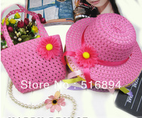 Summer Spring baby hat Straw Baby Sun hat with Bag, Kids Summer Hat Sunbonnet with Flower Free Shipping 9 colors 5 set/lot