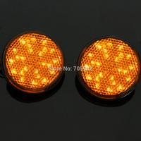 2* LED Reflectors Round Turn Signal Light Universal Motorcycle turn light brightness yellow/amber color