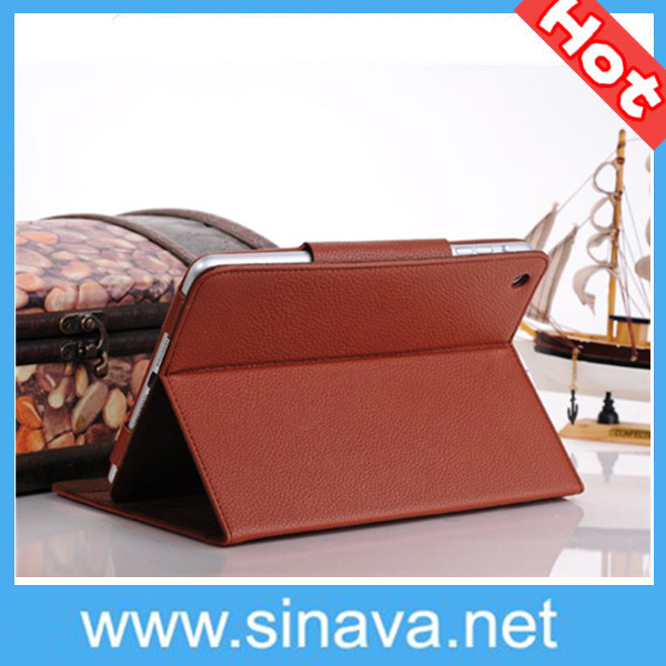 2013 hot selling Popular fashion Pure color Surface business style high-grade PU Leather Stand Case for iPad Mini Free Shipping(China (Mainland))