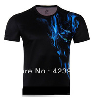 2014 Hot Sale High Quality Blue Cat Printed 3D T-shirts,Black Punk 3D Short Sleeve Tee Shirt XS- 6XL / Cycling T- Shirts