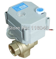 DC12V/24V 2 wires 3/4'' T type 3 way motorized valve with manual override for water heating HVAC air conditional fan coil