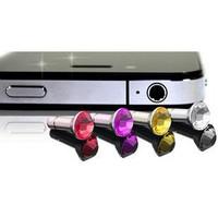 Crystal Phone Case Beauty Accessary - 1PC  Earphone Cap Anti Dust Plug for iPhone 5 & 4,Rhinestone,Freeshipping&Wholesale