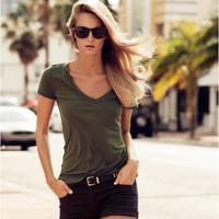 Military wind brief Army Green V-neck short-sleeve slim female t-shirt hm6 full
