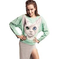Bling cat pattern print mint green cotton sweatshirt female sweaters cuff zipper hm6 full