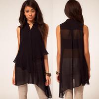 Asymmetrical sweep sleeveless black double layer chiffon shirt stand collar female shirt 6 full