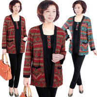 Free shipping-Autumn New fashion elderly women's jacket  plus size tops fake two-pieces mother's coat XL~4XL red/blue