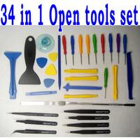 Free shipping 34 in 1 Phone Opening Tools kit Set Repairing Tools+7pcs Tweezers Nipper kit For iPhone iPad Samsung repair tools