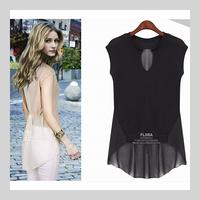 2014 women blouses women summer shirts europe&america short-sleeve chiffon cheap t-shirt, 4 sizes + 2 Colors hot!