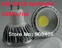 Wholesale freeshipping LED spotlight 5W COB Bulbs GU10 base aluminum body with glass cover 100pcs/lot