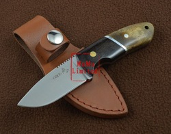 NEW COLT Small Straight Knife Fixed Blade Hunting Knife With Leather Sheath 57HRC 420S.S Gift Knife Free Shipping(China (Mainland))