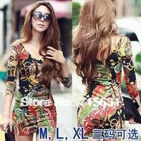 One-piece dress 2014 Women fashion casual Multicolor charming nightclub sexy Slim thin base dress M L XL