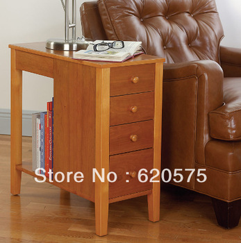Solid Wood Side Table with 4 Drawers