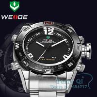 Casual Men LCD Quartz LED Watch Mult-function Alarm Dive Watches Waterproof  Wristwatch   +Gift Box Free Ship