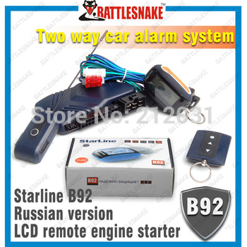 Hot sell! Free shipping  two way car alarm system  New Color box Starline B92 LCD remote engine starter Russian version