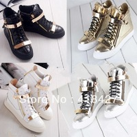 100% genuine designer women's pumps platform hidden wedges leather shoes female sneakers sports shoes gold zip lace up