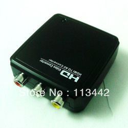 2013 Free shipping HDMI HDTV 1080p to AV Composite RCA Video Mini Converter Adapter Box hot sale(China (Mainland))