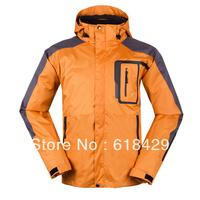 2013 New Brand Male Detachable 2 in 1 Windproof and Waterproof Jackets for Men, (Orange S- XXL, Europen style)