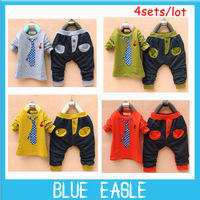 2013 free shipping 1lot=4pcs baby casual suit long-sleeved clothing kids 's fake tie -piece jacket +pants children's set