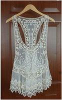 Lady Beige Vintage Hollow Out Crochet Cotton Floral Lace Mini Vest Bohemian Dress