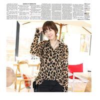 New Sexy Women's Lady Chiffon Shirt Leopard Print Tops Long Sleeve Button Down Blouse Brown Blusas Camisas Femininas